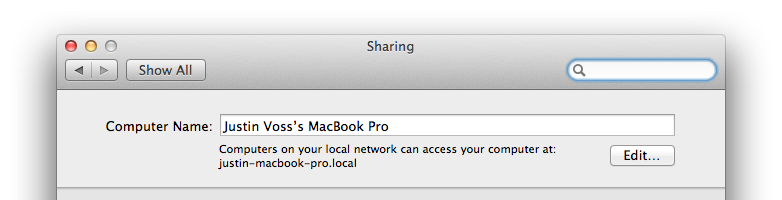 System Preferences - Sharing